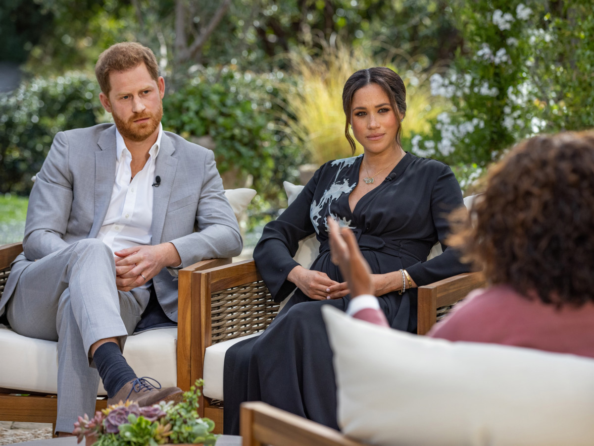In this handout image provided by Harpo Productions and released on March 5, 2021, Oprah Winfrey interviews Prince Harry and Meghan Markle on A CBS Primetime Special premiering on CBS on March 7, 2021.